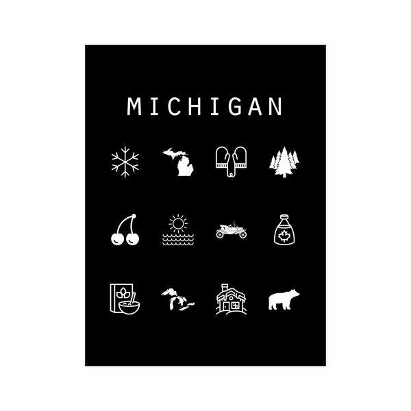 Michigan Black Poster - Beacon