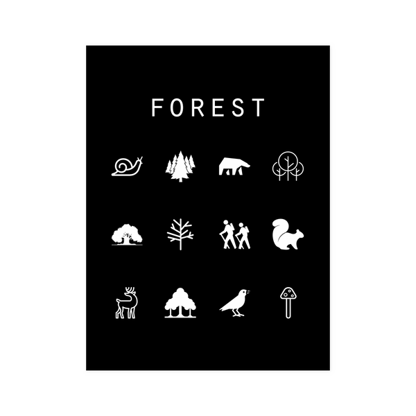 Forest Black Poster - Beacon