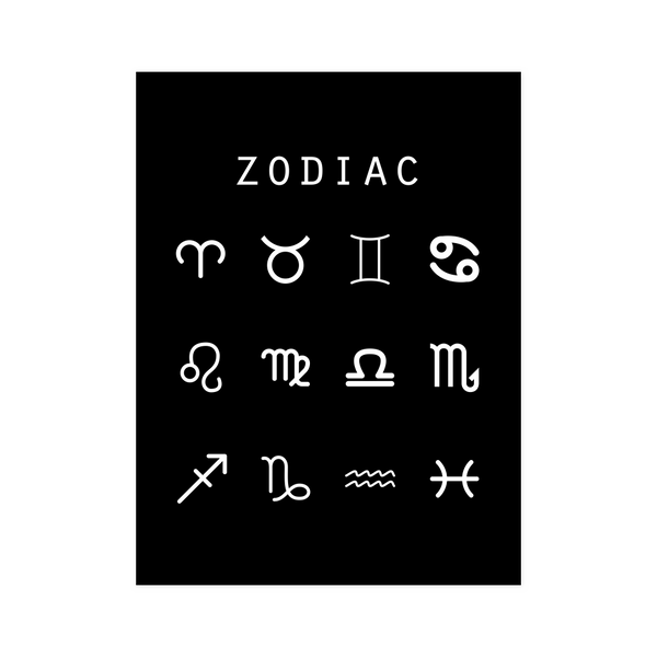 Zodiac (Symbols) Black Poster - Beacon