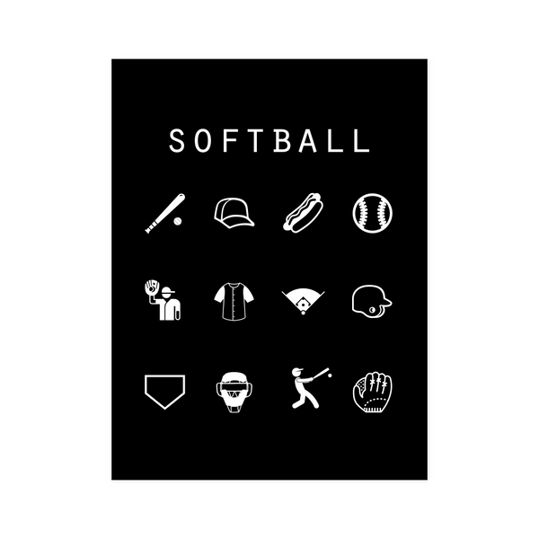 Softball Black Poster - Beacon