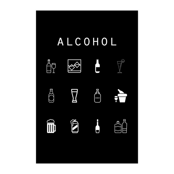 Alcohol Black Poster - Beacon