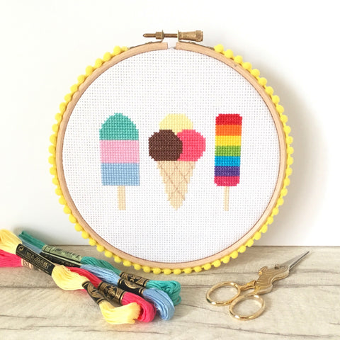 Ice Cream Cross Stitch Kit