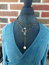 Jessica lariat necklace with sterling silver, stones