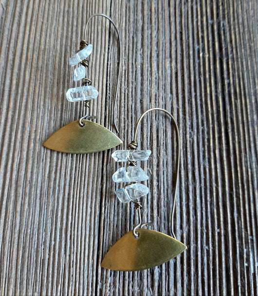 Long brass earrings with clear quartz, gold fan shape
