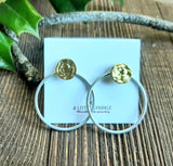 Gold post earrings with silver circle ear jacket