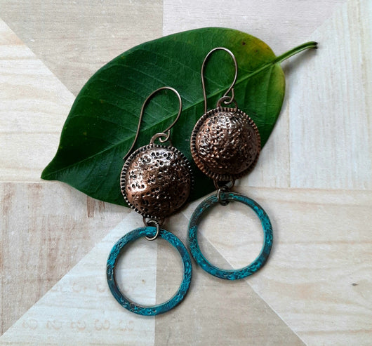 Rustic clay and teal hoop earrings