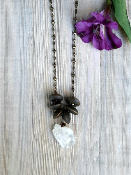 Long wood and chunky quartz necklace