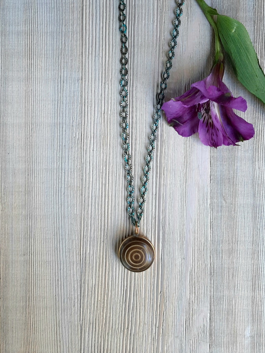 Brown swirl button necklace,patina chain