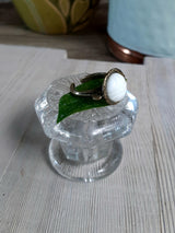 Vintage button ring white glass