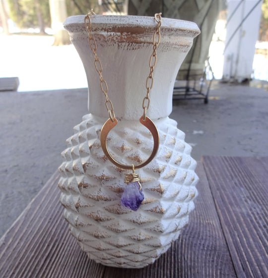 Gold moon Necklace with Amethyst Stone