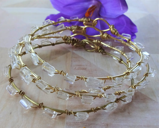 Gold wire wrapped bracelet