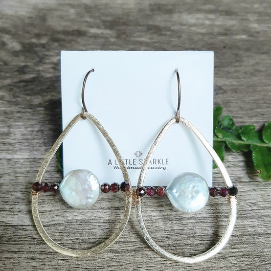 Coin pearl and garnet big teardrop earrings