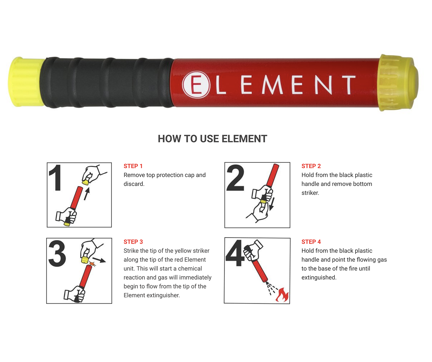 Only one fire extinguisher you need: the Element Fire Extinguisher.