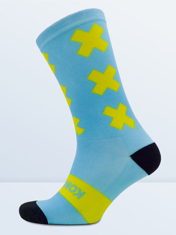 Triple X Socks - Cyan & Yellow