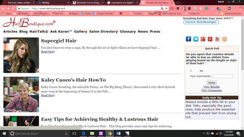 Screenshot of HairBoutique.com - An online forum dedicated to all things hair.