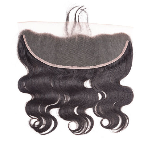 "ExtenCity Hair 13x4 Freestyle Part Lace Frontal Closure in beautiful Body Wave texture, color #1B Natural Black and available in 10"" - 24"""