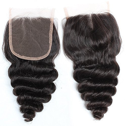 "ExtenCity Hair Freestyle Part Closure in beautiful Loose Wave texture, color #1B Natural Black and available in 10"" - 24"""