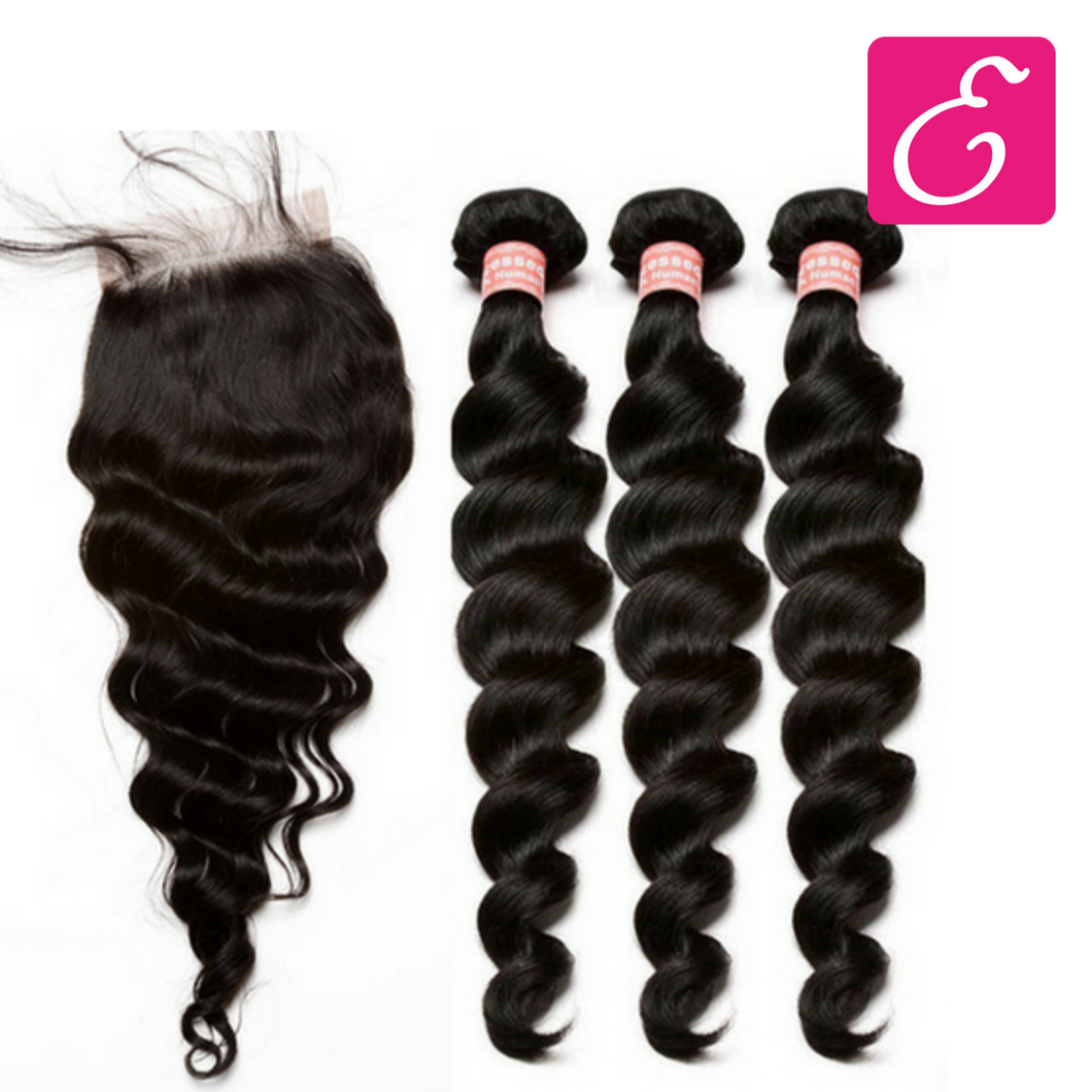 Loose Wave Bundle Deal with Closure - ExtenCity Hair