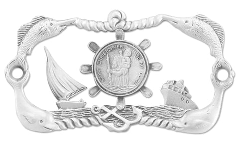 Genuine Pewter St Christopher Boat Plaque