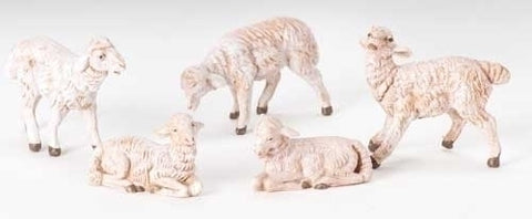 "Fontanini 5"" White Sheep Set"
