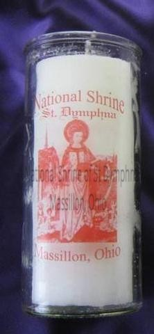"6.5"" Devotional St. Dymphna Glass Candle"