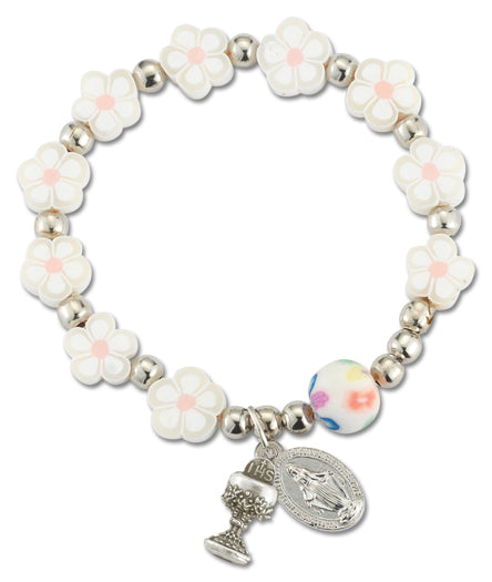 First Communion Floral Shaped White Rosary Bracelet
