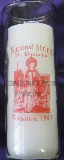 "8.25"" Devotional St. Dymphna Glass Candle"