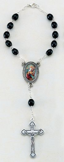 Black St Christopher Auto Rosary
