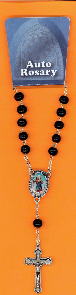 Black Wood St Christopher Auto Rosary