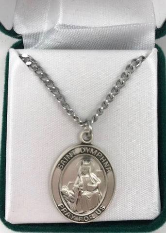 Large Oval Sterling Silver St Dymphna medal