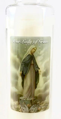 Our Lady of Grace Glass Candle