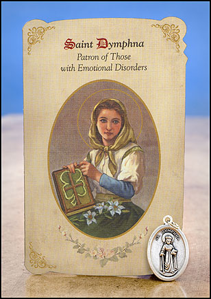 St Dymphna-Patron of Those with Emotional Disorders Healing Medal Set