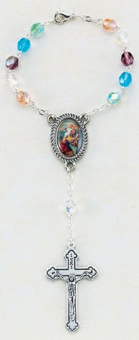 Multi-color Auto Rosary-St Christopher