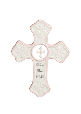 "Pink ""Bless This Child"" Hanging Cross"