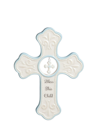 "Blue ""Bless This Child"" Hanging Cross"
