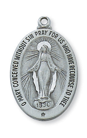 "Pewter Miraculous Medal On 18"" Chain"
