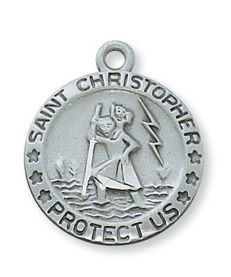 "Pewter St. Christopher Medal On 18"" Chain"