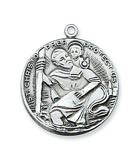 "Pewter St. Christopher Medal On 24"" Chain"