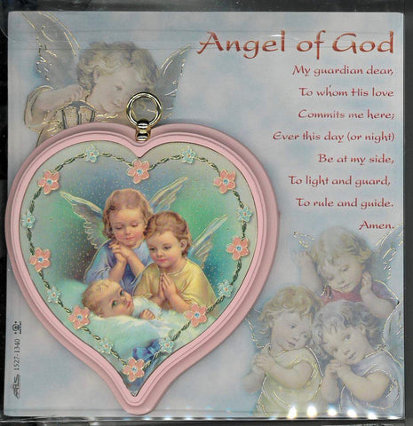 Pink Wooden Heart Shaped Guardian Angel Crib Medal