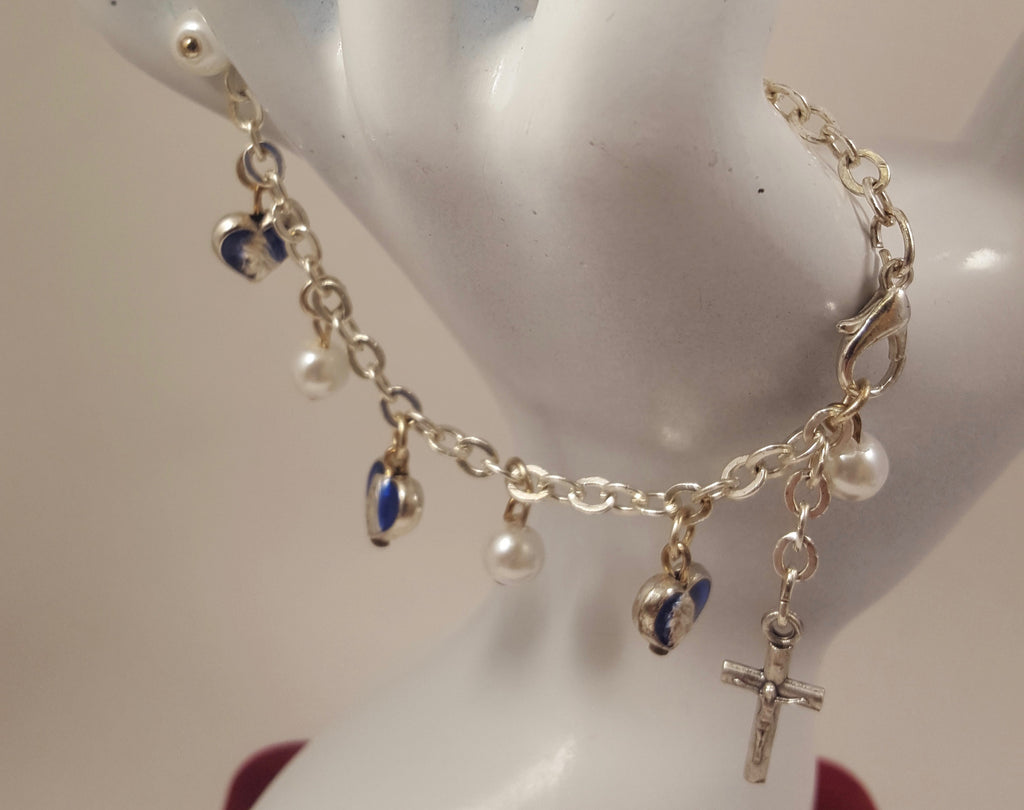 Blue Madonna and Pearl Rosary Bracelet