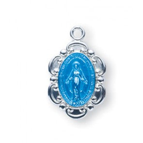 Blue Enameled Fancy Oval Miraculous Medal