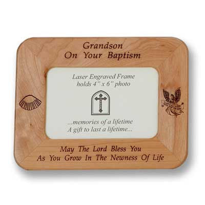 Grandson Maple Baptism Frame