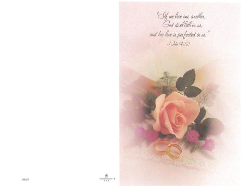 Wedding Bulletin-Pink rose and white hankie