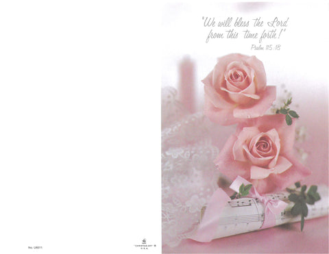 Wedding Bulletin-Pink roses, music and a candle