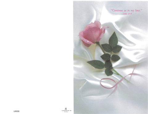 Wedding Bulletin-Single Pink Rosebud