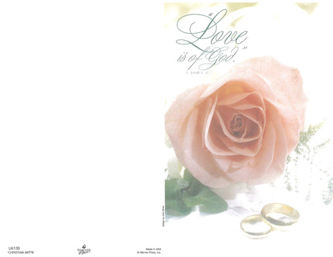 Wedding Bulletin-Pink Rose with Wedding Bands