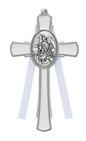 "4 1/2"" White Guardian Angel Cross"