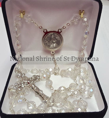 Clear Ab Pewter St. Dymphna Rosary. Rosaries Chaplets And Cases