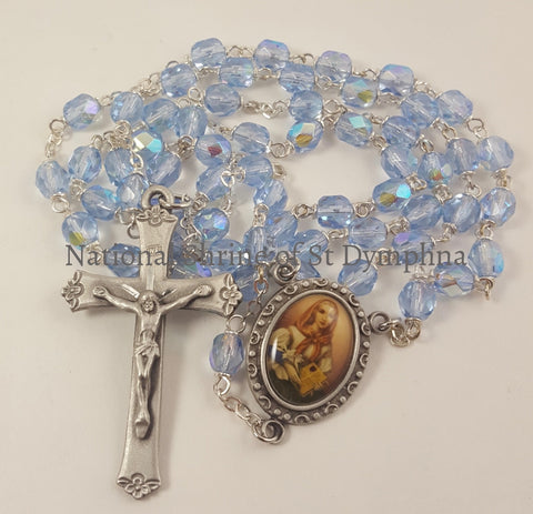 Deluxe Crucifix Rosary With St. Dymphna Center. Rosaries Chaplets And Cases
