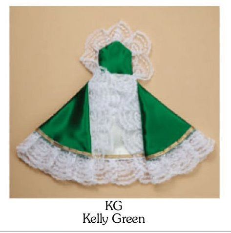 "12"" Kelly Green Satin Infant of Prague Gown"